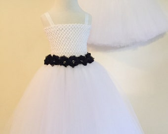 Tulle Flower Girl Dress with Rhinestone Flowers, Flower Girl Dress, Flower Sash