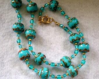 "Vintage Retro Murano ""Wedding cake"" Glass Beads Necklace"