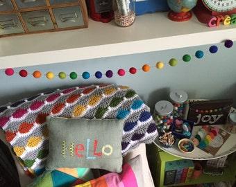 Rainbow Felt Pom Bunting | Felt Ball Garland
