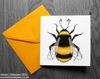 Bee Card, Bumble Bee Greeting Card, bumblebee card, Bee Birthday Card, Father's Day Card, Thank you, Notecard, Gardening, Summer, Nature