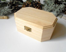 Wooden box- medium large six side box- unfinished wooden box with bronze colored hinges- bamboo wood box- wooden supplies- craft box
