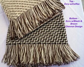 Alpaca and Wool Throw Blanket - A Beautiful Geometric Throw - No Synthetics