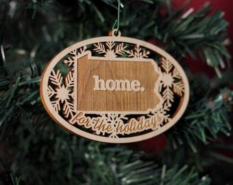 Engraved Pennsylvania Wood Christmas Ornament