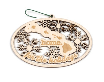 Engraved Hawai'i Wood Christmas Ornament