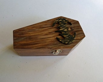 Bat on Coffin, Coffin ring box, Hand painted coffin box, Wooden coffin, Til death do us part, Vampire coffin