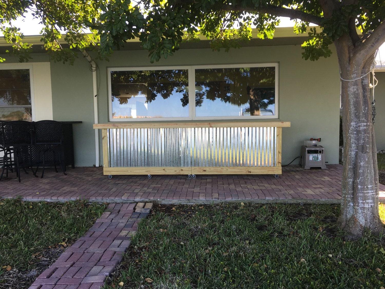 the beer pong 12 u0027 corrugated metal rustic outdoor patio bar