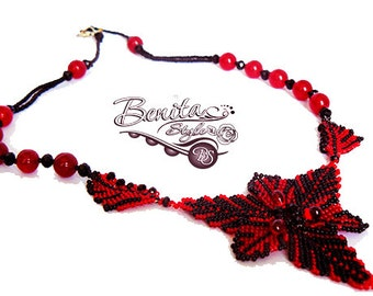 Bead Necklace, Beadwork Necklace, Beaded Necklace Black and Red Necklace Christmas Star, Beadweaving Peyote Necklace Red Agate