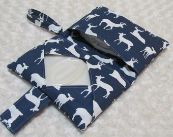 Navy Deer Silhouette Diaper and Baby Wipe Clutch for Huggies, Pampers Wipes