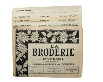 "Vintage Embroidery Magazines 1960s "" La Broderie Lyonnaise "" , embroidery patterns, lingerie, monograms, napkins"