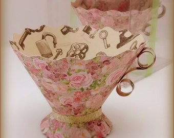 Paper Teacups-Box set of 5 Rose Garden-Alice in Wonderland- Tea Party Favors, Nut & treat Cups,