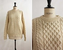 Fisherman Oversized Sweater, Cream Cable Knit Wool Jumper, Warm Irish Chunky Pullover, Unisex, Boyfriend, Boho / One size