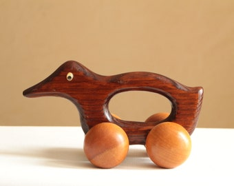 Vintage wood duck on wheels / baby natural wooden motion toy
