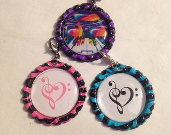Music Themed Bottlecap Charm Set of Three