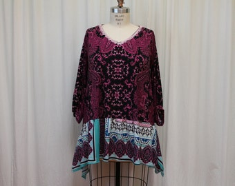Purple summer top Romantic women's dress Lagenlook Upcycled clothing  Bohemian tunic Shabby chic dress Eco friendly clothing  XL