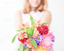 Stock Photo - Girl Holding Flowers II - Styled Photography