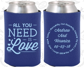 All you Need is Love, Wedding Decor, Love Wedding, Romantic Wedding, Romantic Favors, Hearts, Wedding Can Coolers (419)