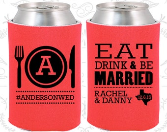 Tangerine Wedding, Can Coolers, Tangerine Wedding Favors, Tangerine Wedding Gift, Tangerine Party Favors (422)