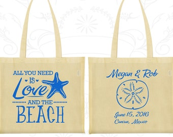 All you Need is Love and the Beach Bags, Imprinted Wedding Bags, Beach Wedding Bags, Starfish Wedding, Bags and Totes (414)