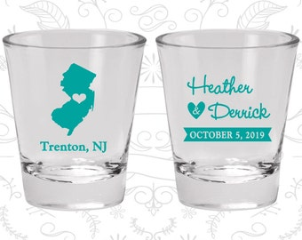 New Jersey Wedding Shot Glasses, Wedding Favor Glasses, Destination Wedding Shot Glasses, State Wedding Shot Glasses (129)