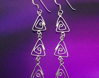 925 Solid Sterling Silver TRI-ANGLE chandelier Earrings-Tri-angle wire Dangle Earrings-Dangle-Polish