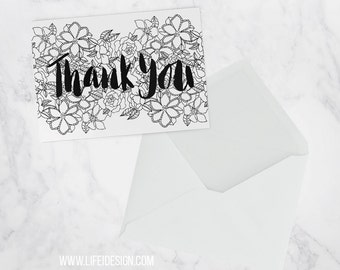 Thank you cards, hand lettered thank you with modern black floral design, blank inside, single or pack of 3