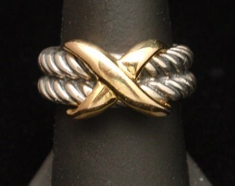 2-Color Sterling Silver Ring Rope Design Italy Vintage