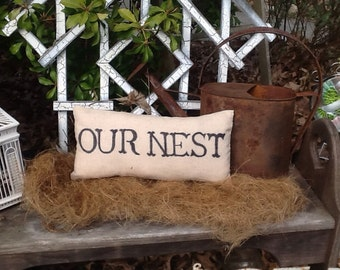 Our Nest Handmade Pillow, Wonderful Wedding Gift, Home Decor