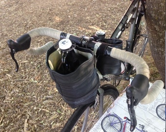 SUDS BUCKET , handlebar/rack mounted carrier for your 64 oz growler glass or metal made from used bike inner tubes