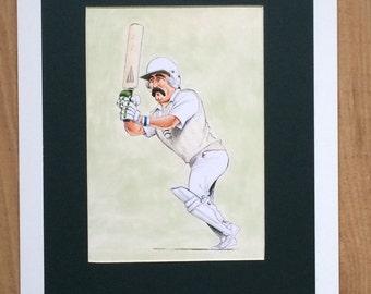 Mounted and Framed Graham Gooch Drawing by John Ireland - 30cms x 40cms - Comical Cricket Art