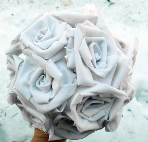 Rose Bouquet, Cotton Roses, Rustic Wedding , anniversary,  bridal, cotton bouquet, rose centerpiece, wedding anniversary, 1st anniversary