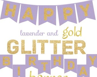 Lavender and Gold Glitter Happy Birthday Banner Printable