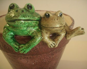 Ceramic frog pot hangers red planter flower pot frog decor whimsical frog decor fairy garden friend gifts for her women's gift idea toad