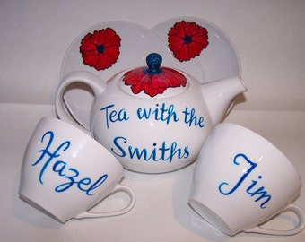 Teaset hand painted personalised Tea with the Smiths etc 6 cup teapot and 2 cups saucers