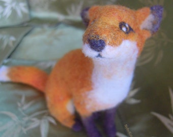 Foxie - Needle felted sculpture, mini fox woodland creature