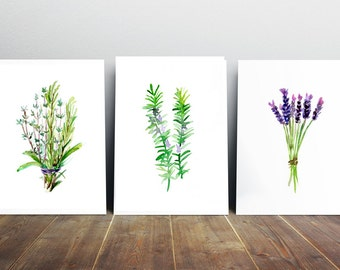 Herbs Art Herbs Watercolor Painting - Rosemary lavender Thyme - Art Print - Zen Kitchen Art Provence illustration decor herb painting