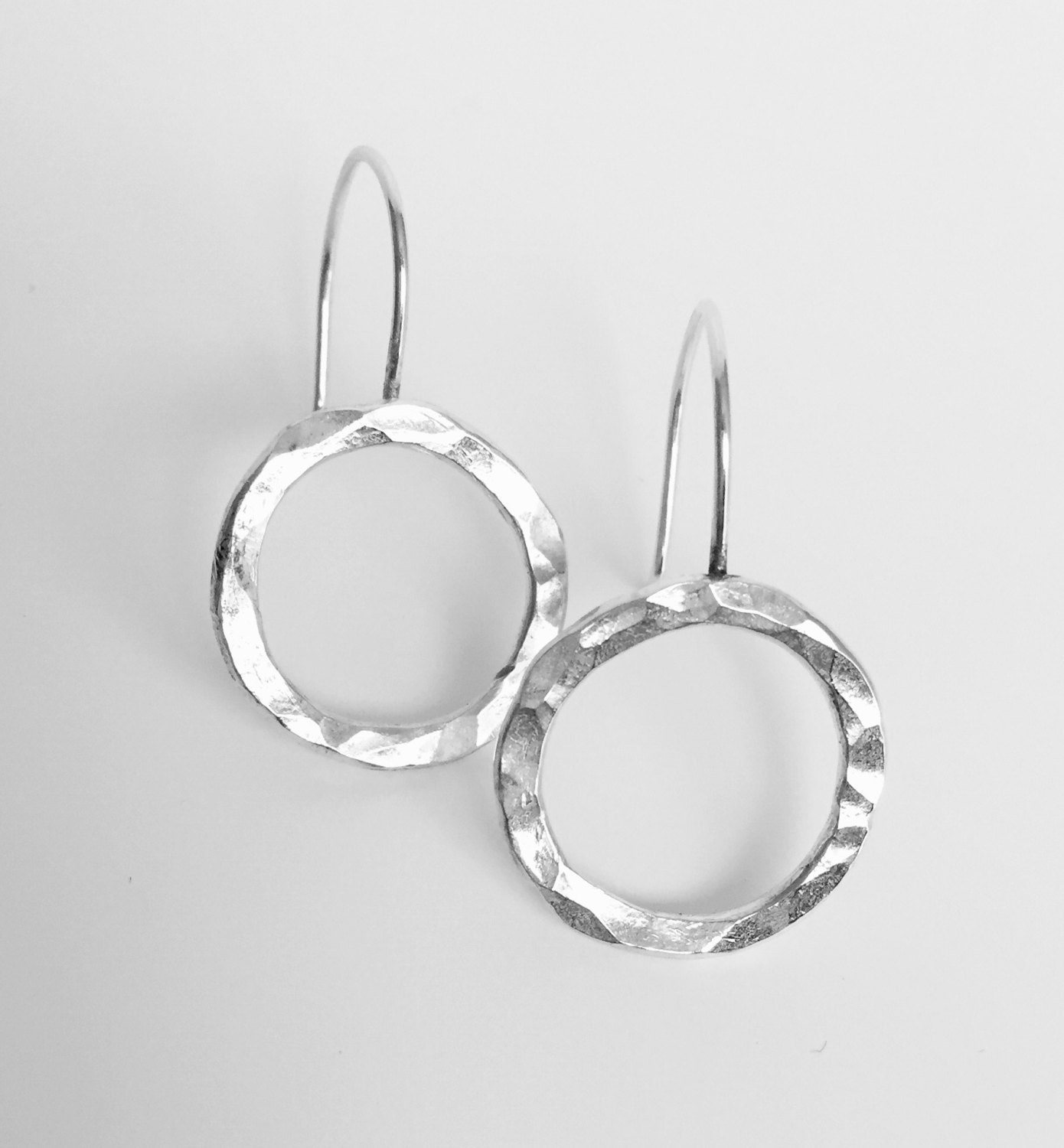silver hoop dangle earrings hammered jewelry recycled silver