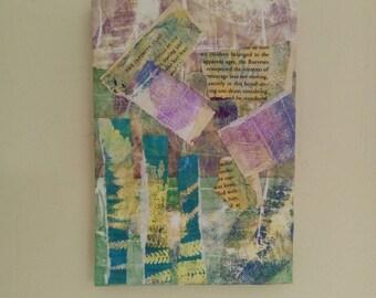 Mixed media art, canvas art, monoprinting,collage,original art