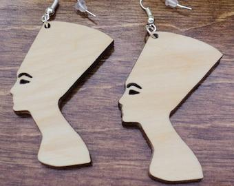 Natural wooden earrings laser cut Nefertiti plain birch