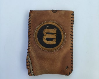 Repurposed Wilson Baseball Glove Wallet with round patch