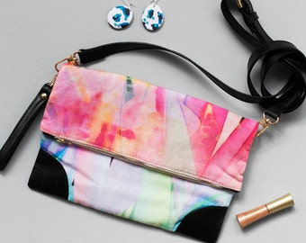 Peppy Clutch - Printed Cotton Fold Over Clutch with Leather