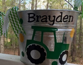 Personalized Boys Tractor Easter Pail Bucket in your choice of colors and name. Can do other designs, Fast Priority Mail Shipping