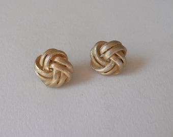 Vintage Gold Tone Knot Earrings By Lisner