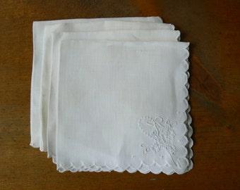 4 Vintage White Embroidered Tea Napkins