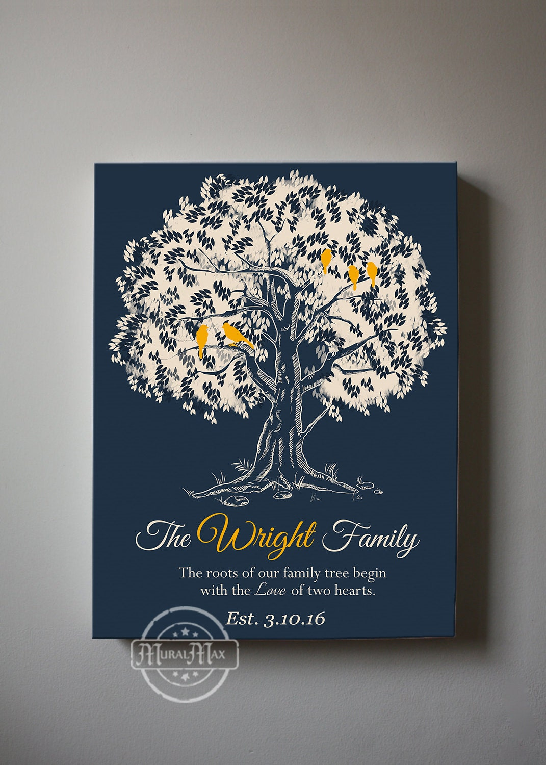 family tree canvas wall art personalized gift for family. Black Bedroom Furniture Sets. Home Design Ideas