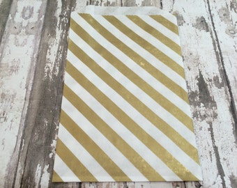 "12 Gold Diagonal Stripe Paper Gift Bags, 5"" X 7 1/2"".  White Kraft Paper with Gold Diagonal Stripes, Favor Bags, Party, Wedding, Shower"