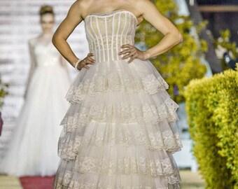 Victorian wedding dress, Elegant wedding dress, Bridal gown, Boho wedding dress, Rustic summer wedding dress, Princess lace wedding dress