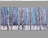 Winter Birch Forest Birch Trees, Aspen Trees on Stetched Canvas, made to order, art by Susie Tiborcz