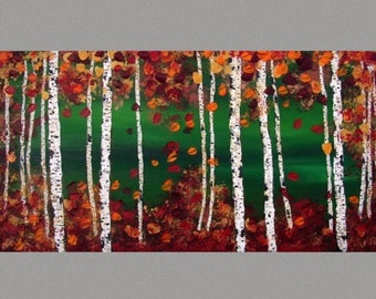 "Birch Trees Panting SALE Red Birch and Aspen Fall Aspen Trees READY to HANG Abstract Autumn Landscape Wall Art by Susie Tiborcz 24"" x 48"""