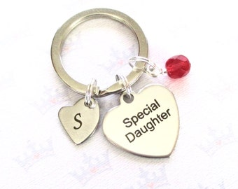 Daughter gift - Personalised daughter keychain - Gift for daughter - Special Daughter keychain - Birthstone keychain - Stocking filler - UK