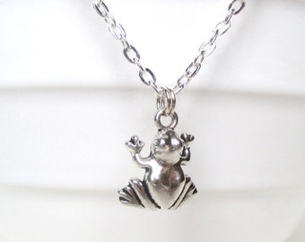 Frog necklace - Amphibian jewellery - Frog pendant - Pond Creature - Animal necklace - Tiny frog charm - Secret santa - Stocking filler - UK